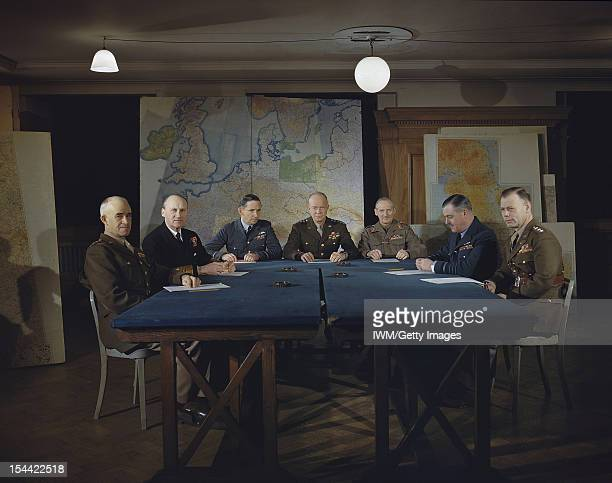 Meeting Of The Supreme Command Allied Expeditionary Force London 1 February 1944 Left to right Lieutenant General Omar Bradley Commander in Chief 1st...