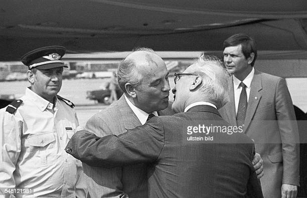 GDR Meeting of Warsaw Pact countries in East Berlin Soviet leader Mikhail Gorbachev on a visit to East Germany on the occasion of a meeting of the...