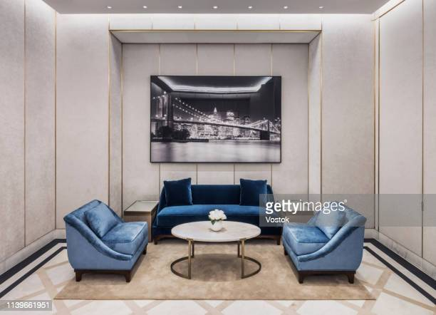 meeting room in the luxury jewellery store - cushion stock photos and pictures