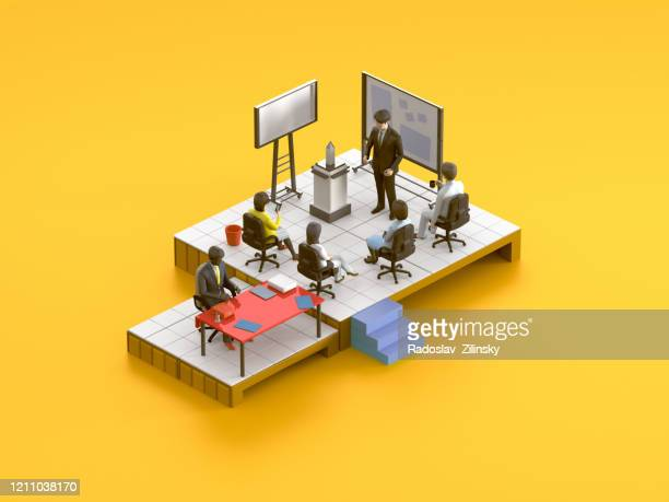 meeting room isometric scene on orange background - illustration stock pictures, royalty-free photos & images