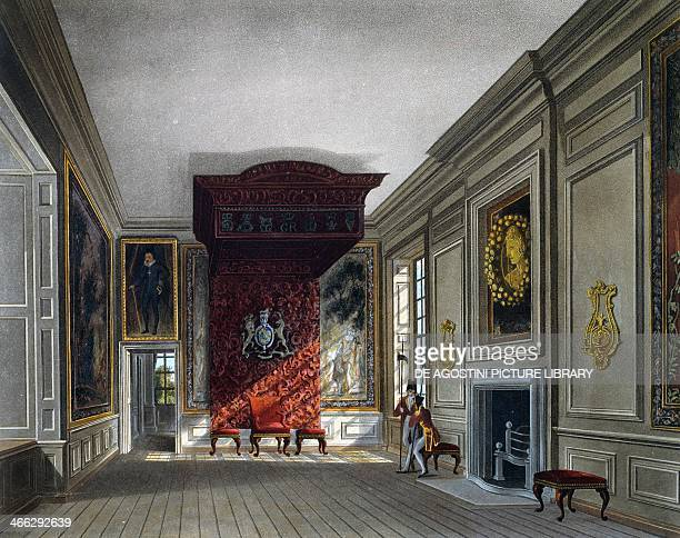 Meeting room of the King engraving by Thomas Sutherland based on a design by Charles Wild from The History of the Royal Residences 18161819 Volume...
