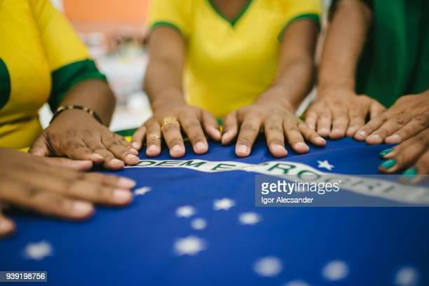 Meeting table with Brazilian flag
