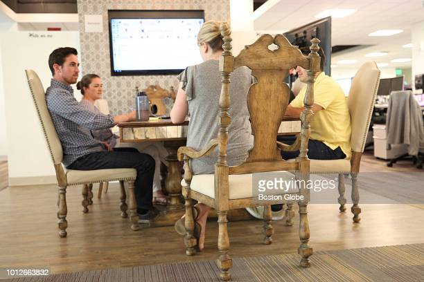A meeting takes place on Wayfair furniture at the Boston headquarters of Wayfair on July 31 2018 Wayfair is among the city's fastestgrowing companies...