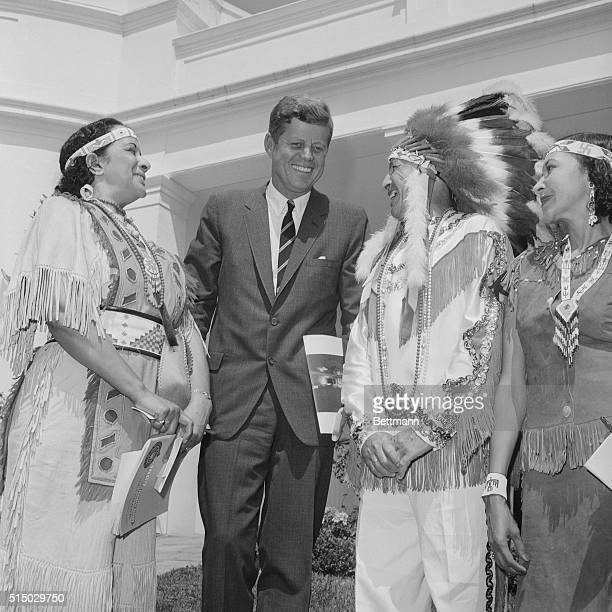 Meeting the President. Washington: President Kennedy met with representatives of 90 American Indian tribes at the White House today and was presented...