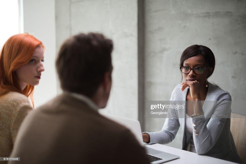 Meeting with financial advisor : Stock Photo