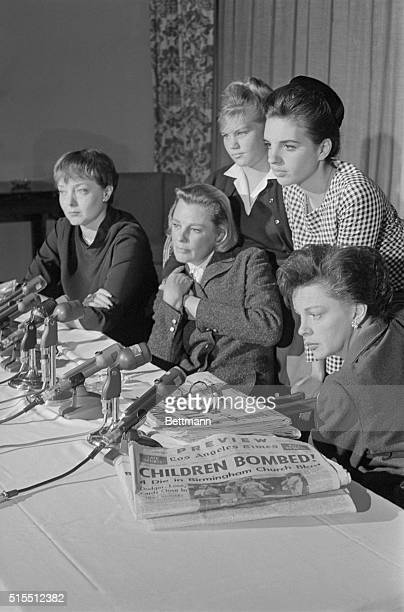 Meeting with the press actresses Carolyn Jones June Allison and Judy Garland say they were shocked by the headlines and news of children killed in...