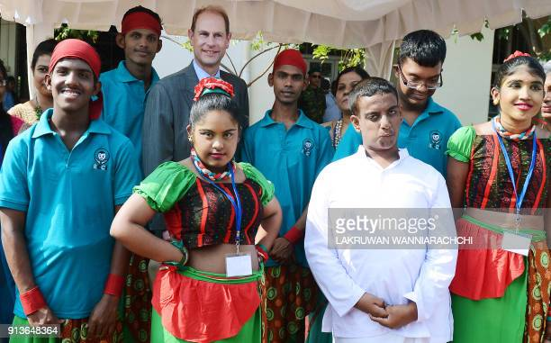 meets with students during a meeting with students of Sri Lanka's schools for the deaf and blind near the capital Colombo on February 3 2018 The...