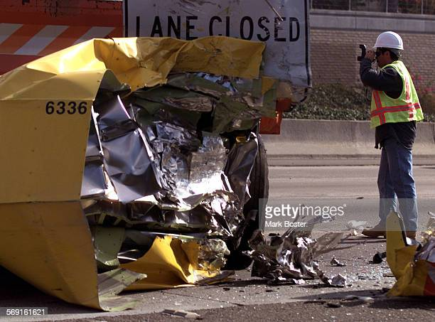 Fatal.Pix.112999.MB––Cal Trans officials photographed the scene monday morning where a truck driver slammed his vehicle into the back of a Cal Trans...