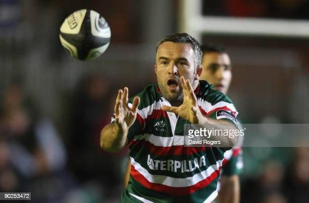 Mefin Davies of Leicester catches the ball during the pre season friendly match between Leicester Tigers and Munster at Welford Road on August 28,...