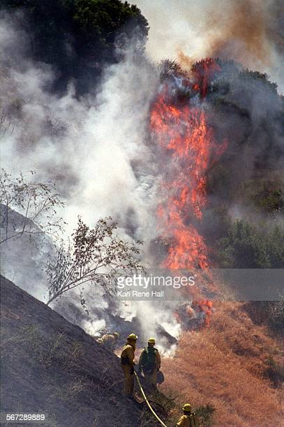 Fire.brush1.KH.5/13/96.Firefighters from the U.S. Forest Service and Riverside County Fire battle a brushfire burning across a ridge away from the 91...