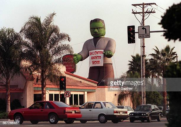 MEfrank1017RG –– A 35–foot inflatable Frankenstein's monster looms over the Sizzler at the corner of Alosta and Citrus in Azusa to trumpet the...