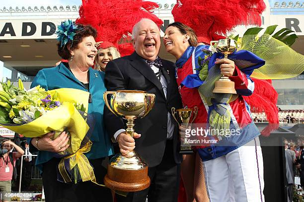 Meg and Mev Butterworth celebrate with driver Kerryn Manning after winning the NZ Trotting Cup during the New Zealand Trotting Cup at Addington...