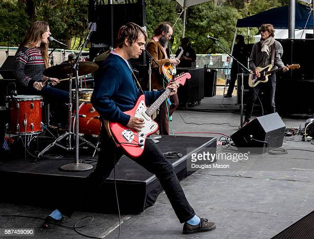 Meg Baird, Charlie Saufley, Noel Von Harmonson and Ethan Miller of Heron Oblivion perform during the Outside Lands Music Festival 2016 at Golden Gate...