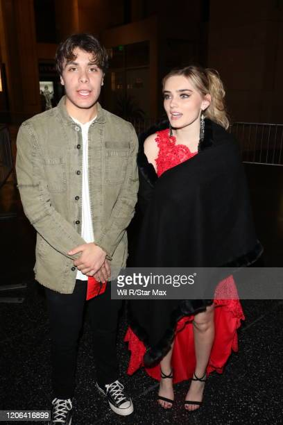Meg Donnelly and Pearce Joza are seen on March 9 2020 in Los Angeles California