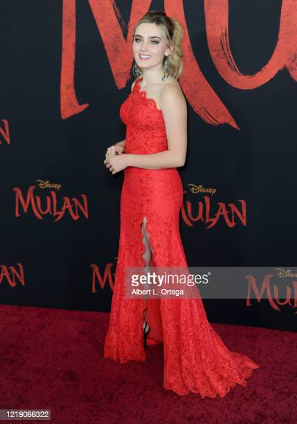 Meg Donnelly arrives for the Premiere Of Disney's Mulan held at Dolby Theatre on March 9 2020 in Hollywood California