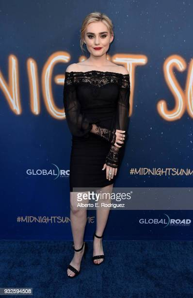 Meg Donnelly attends Global Road Entertainment's world premiere of Midnight Sun at ArcLight Hollywood on March 15 2018 in Hollywood California