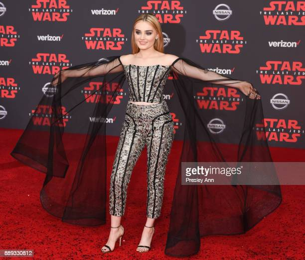 Meg Donnelly attends Premiere Of Disney Pictures And Lucasfilm's Star Wars The Last Jedi Arrivals at The Shrine Auditorium on December 9 2017 in Los...