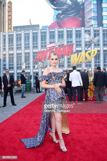 Meg Donnelly attends the Los Angeles Global Premiere for Marvel Studios' 'AntMan And The Wasp' at the El Capitan Theatre on June 25 2018 in Hollywood...