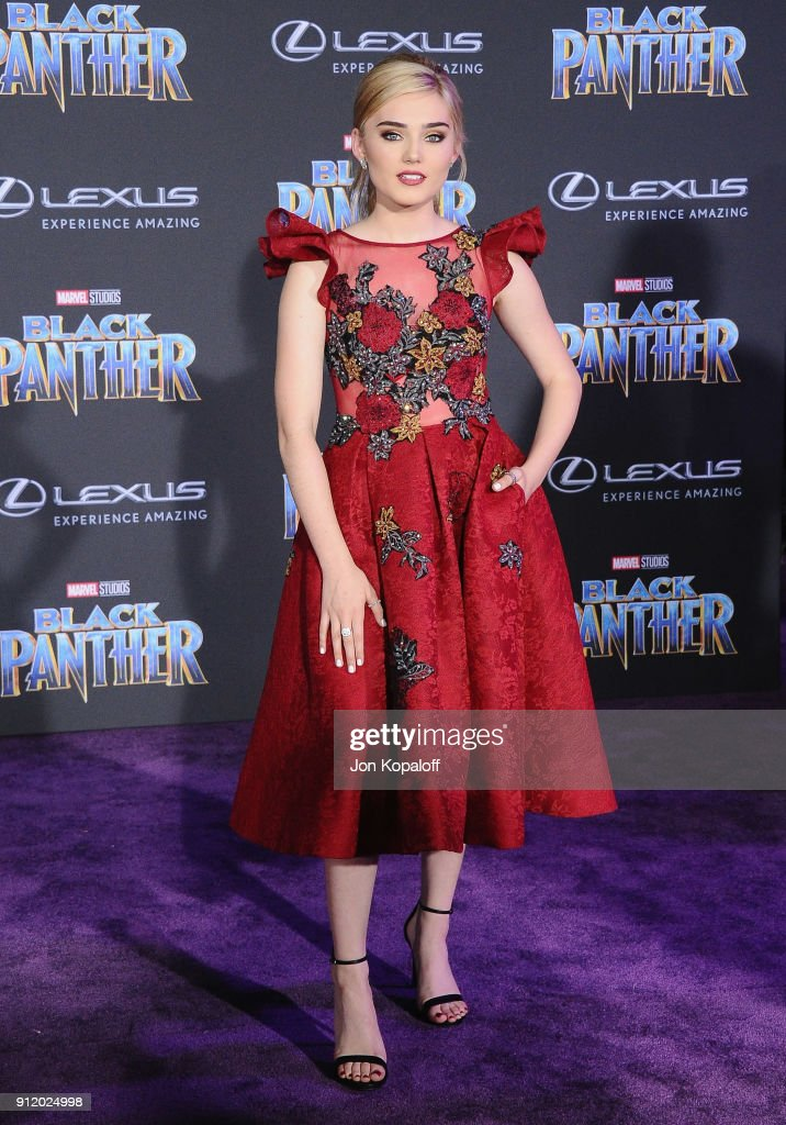 Meg Donnelly attends the Los Angeles Premiere 'Black Panther' at Dolby Theatre on January 29, 2018 in Hollywood, California.