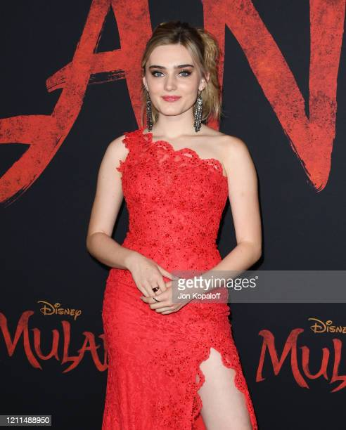 Meg Donnelly attends the premiere of Disney's Mulan on March 09 2020 in Hollywood California