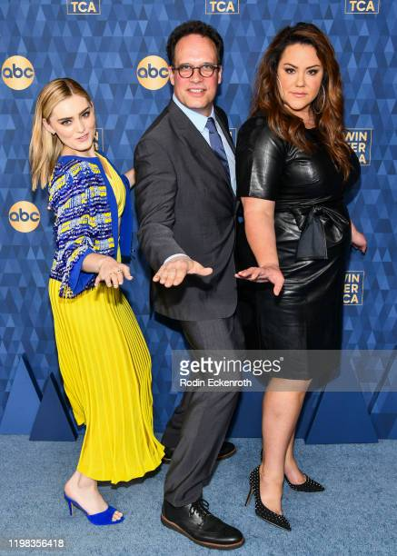 Meg Donnelly, Diedrich Bader and Katy Mixon attend the ABC Television's Winter Press Tour 2020 at The Langham Huntington, Pasadena on January 08,...