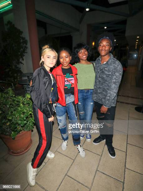 Meg Donnelly Jaheem Toombs Riele Downs and Reiya Downs are seen on June 01 2018 in Los Angeles California