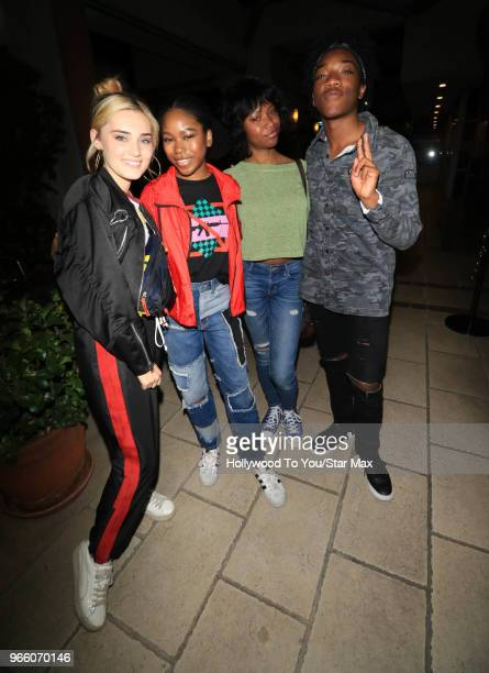 Meg Donnelly Riele Downs Reiya Downs and Jaheem Toombs are seen on June 1 2018 in Los Angeles California