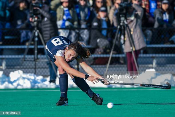 Meg Fearey of Middlebury attempts a pass during the Division III Women's Field Hockey Championship held at Spooky Nook Sports on November 24 2019 in...