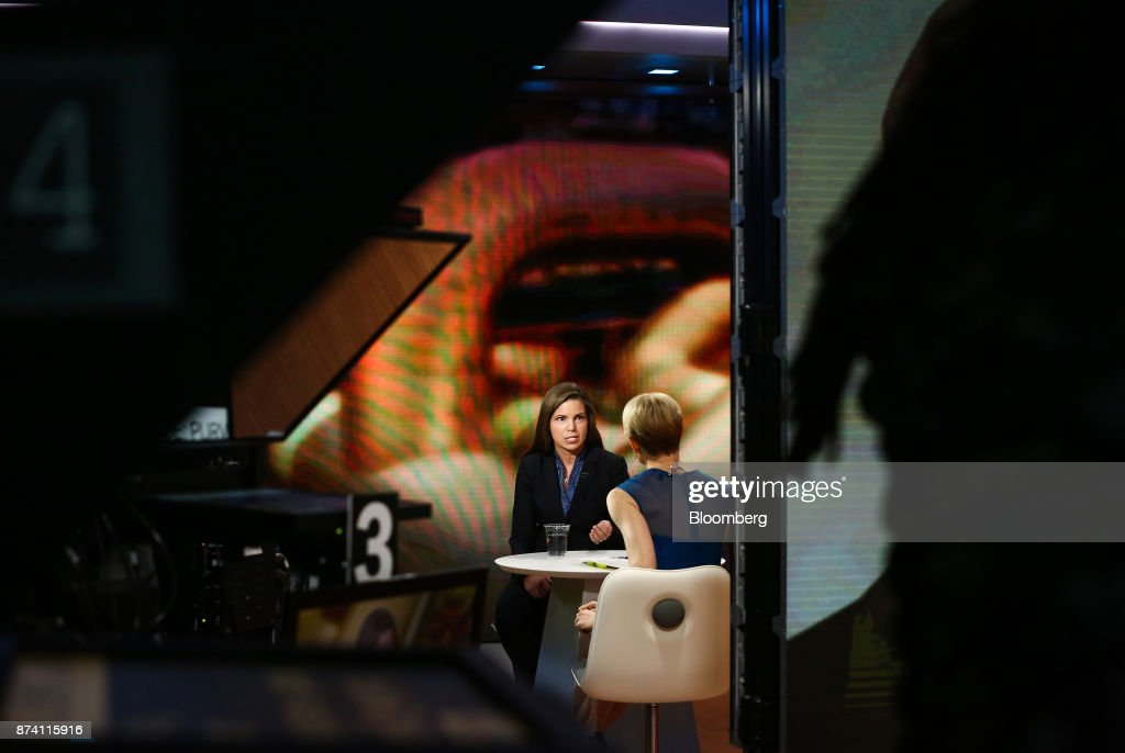 Meg Gentle, chief executive officer of Tellurian Investments Inc., speaks during a Bloomberg Television interview in New York, U.S., on Tuesday, Nov. 14, 2017. Gentle discussed the company's deal with Bechtel for the Driftwood LNG project. Photographer: Christopher Goodney/Bloomberg via Getty Images