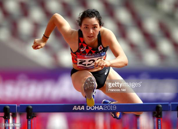 Meg Hemphill of Japan competes in heat 1 of the women's heptathlon 100m during day two of the 23rd Asian Athletics Championships at Khalifa...