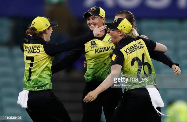 Meg Lanning and Delissa Kimmince of Australia celebrate victory during the ICC Women's T20 Cricket World Cup Semi Final match between Australia and...