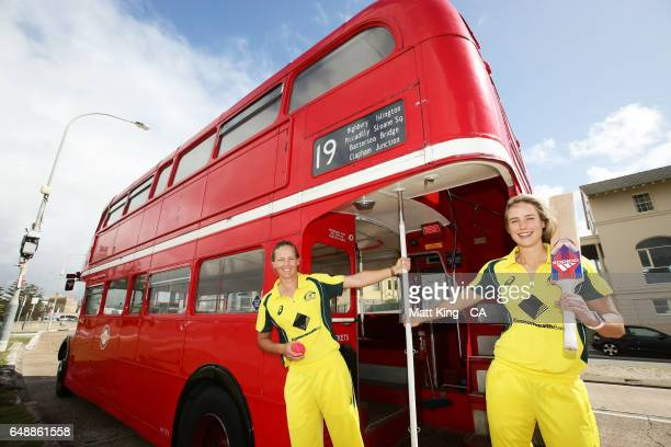 Meg Lanning and Ellyse Perry of Australia pose on a London bus during the Women's Ashes Schedule Launch at Bondi Beach on March 7 2017 in Sydney...