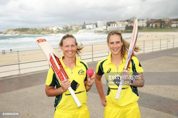 Meg Lanning and Ellyse Perry pose during the Women's Ashes Schedule Launch at Bondi Beach on March 7 2017 in Sydney Australia