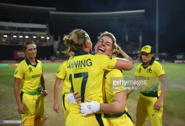 Meg Lanning and Elyse Villani of Australia embrace in celebration during the ICC Women's World T20 2018 Final between Australia and England at Sir...