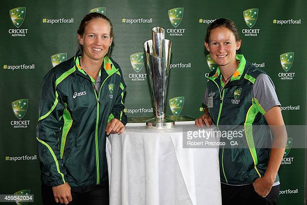 Meg Lanning and Julie Hunter pose for photos during the Cricket Australia via Getty Images Diversity and Inclusion Strategy Launch at Melbourne...