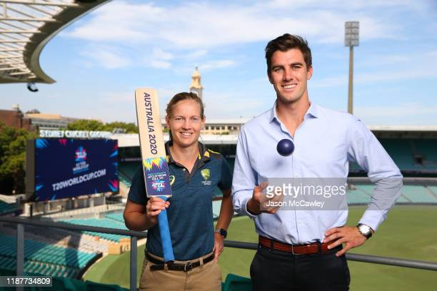 Meg Lanning and Pat Cummins pose during the T20 100 Days To Go Lunch at Sydney Cricket Ground on November 15, 2019 in Sydney, Australia.
