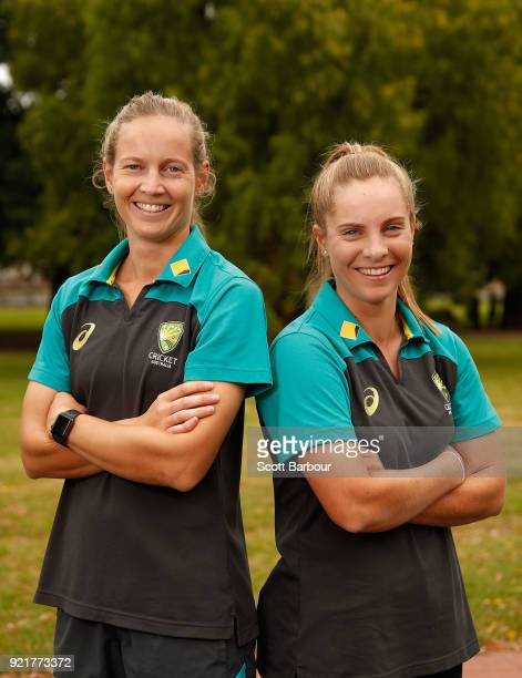 Meg Lanning and Sophie Molineux pose during a Cricket Australia media opportunity at the Melbourne Cricket Ground on February 21 2018 in Melbourne...