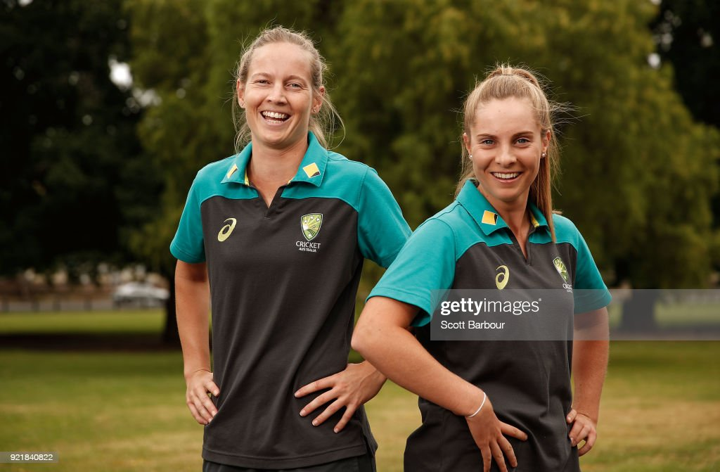 Meg Lanning and Sophie Molineux pose during a Cricket Australia media opportunity at the Melbourne Cricket Ground on February 21, 2018 in Melbourne, Australia. Australia captain Meg Lanning will return to lead her country in next month's tour of India, while promising young allrounders Sophie Molineux and Nicola Carey are in line to make their international debuts.