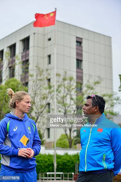 Meg Lanning Australian's Captain Cricket and Aminul Islam Asia Development Office visiting Pupils of Youai Trial School at Minhang District in...