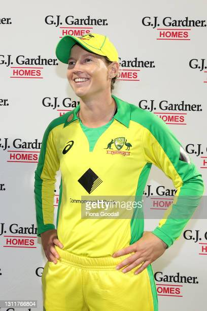 Meg Lanning, captain of Australia after winning the match and series during game three of the One Day International series between the New Zealand...