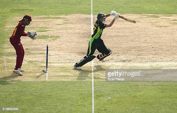 Meg Lanning Captain of Australia bats as Merissa Aguilleira of the West Indies keeps wicket during the Women's ICC World Twenty20 India 2016 Final...