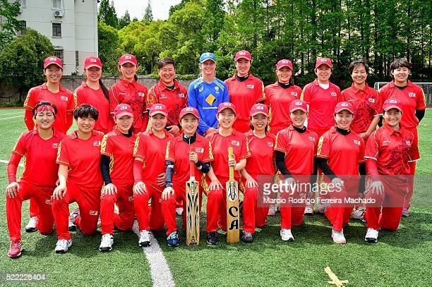 Meg Lanning Captain of Australia Cricket Team poses for photos with Chinese National Team on April 15 2016 at Tongji University in Shanghai China