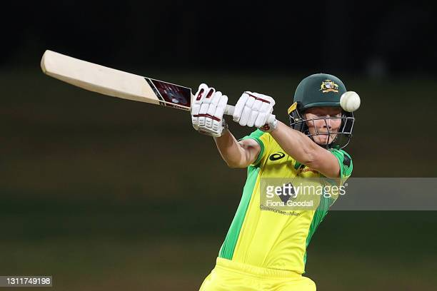 Meg Lanning, captain of Australia takes a shot during game three of the One Day International series between the New Zealand White Ferns and...