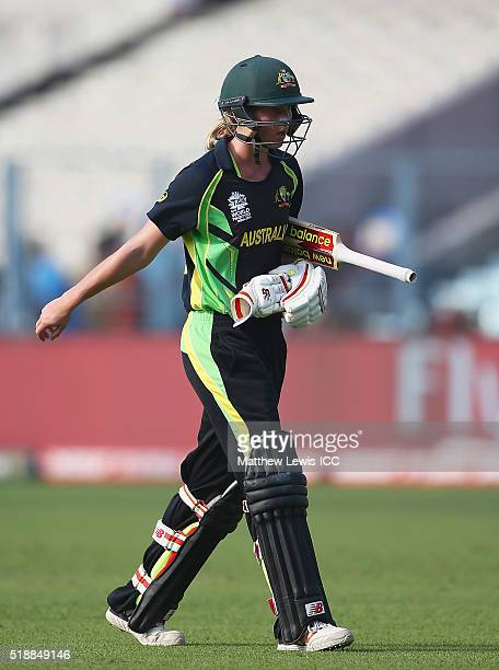 Meg Lanning Captain of Australia walks off after being bolwed LBW by Anisa Mohammed of the West Indies during the Women's ICC World Twenty20 India...
