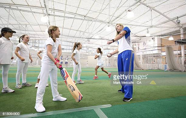 Meg Lanning gives some tips to young female cricket players during a Cricket Australia Commonwealth Bank Sponsorship Media Announcement at Sydney...