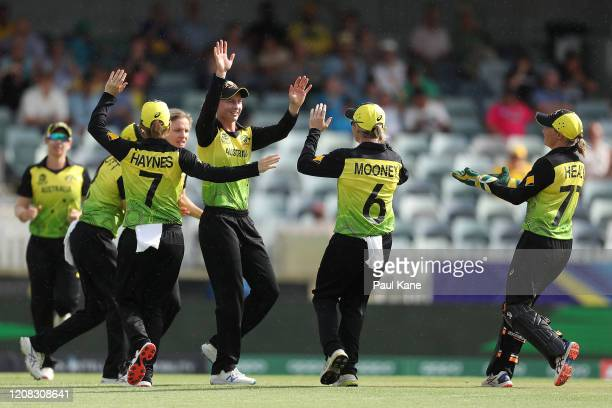Meg Lanning of Australia after taking a catch to dismiss Chamari Athapaththu of Sri Lanka during the ICC Women's T20 Cricket World Cup match between...