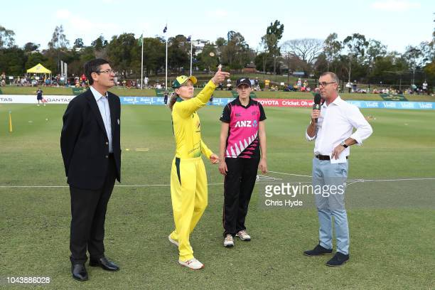 Meg Lanning of Australia and Amy Satterthwaite of New Zealand during the coin toss before game two of the Women's International Twenty20 series...