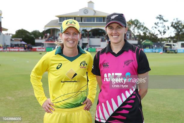 Meg Lanning of Australia and Amy Satterthwaite of New Zealand pose after the coin toss before game two of the Women's International Twenty20 series...