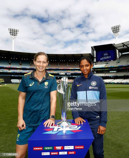 Meg Lanning of Australia and Harmanpreet Kaur of India pose with T20 World Cup during the 2020 ICC Women's T20 World Cup Media Opportunity at...
