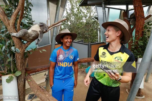 Meg Lanning of Australia and Harmanpreet Kaur of India take a 'selfie' with a Koala during the ICC 2020 Women's Twenty20 World Cup Captains media...